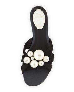 ed29f4bb6 Rene Caovilla Pearly-Bead Flat Leather Sandal