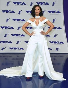 """Bodak Yellow"" rapper Cardi B channeled her inner-Madonna as she arrived wearing a white cone bra couture look by Christian Siriano at the MTV Video Music Awards on Aug. 27, 2017."