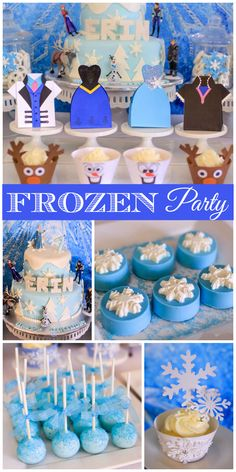 A Frozen girl birthday party with all the characters from the movie and snowflake cupcake toppers!  See more party planning ideas at CatchMyParty.com!