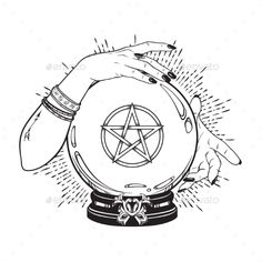 Buy Crystal Ball with Pentagram in Hands of Gypsy by croisy on GraphicRiver. Hand drawn magic crystal ball with pentagram star in hands of fortune teller line art and dot work. Crystal Ball Tattoo, Art Sketches, Art Drawings, Crystal Drawing, Witch Drawing, Gypsy Drawing, Ball Drawing, Witch Tattoo, Boho Vintage