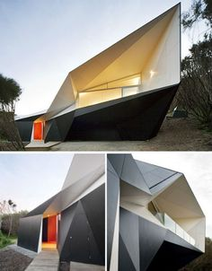 Klein Bottle Holiday House, Mornington Peninsula, Australia.  Named after the 'Klein Bottle' in mathematics, which is a surface with no distinction between the inside and outside, this home features a highly unusual, angular shape that hints at this mathematical inspiration. The Klein Bottle House is essentially a spiral, but because of its geometry, that's difficult to see from the exterior.