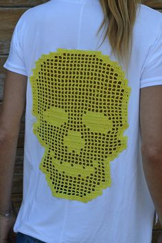 Items similar to Handmade crochet skull t-shirt in yellow over white / Crochet tunic appliqué skull / Crochet lace skull top / Crochet cotton doily skull on Etsy Crochet Tunic, Thread Crochet, Crochet Clothes, Crochet Lace, Lace Skull, Crochet Skull, Halloween Cross Stitches, Halloween Crochet, Vintage Diy