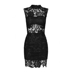 Yoins Black Lace Dress With High-neck (€22) ❤ liked on Polyvore featuring dresses, black, bodycon dress, short dresses, body con dresses, bodycon cocktail dress and lace cocktail dress