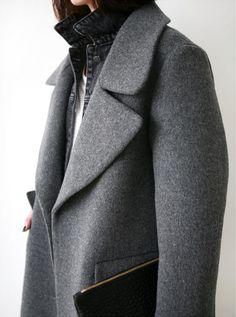 grey oversized coat, faded black denim jacket and white t-shirt