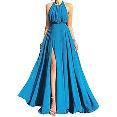 7c184e44bdc7 LianMengMVP Vestito Donna Sottile Vestito Abito Maxi di Abito da Sera Lungo  Vintage con Scollo a