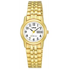 Women's Pulsar Calendar Watch - Gold Tone with White Dial - Stainless Steel Watch, Stainless Steel Bracelet, Limited Edition Watches, Simple Bracelets, Watch Model, Gold Watch, Gemstone Jewelry, Bracelet Watch, Quartz