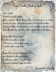 Easy Candle Healing Spell ~ from Journey of a Male Witch on Facebook