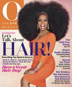 "Fun fact: The wig Oprah's wearing on this cover weighs 3.5 pounds! ""It feels like carrying around an extra head,"" she says. #LetsTalkAboutHair"