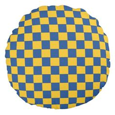 Tiled Woven Blue and Yellow Pillow