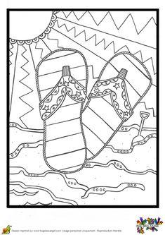 De jolies tongs de plage à colorier pour bien commencer  ses vacances