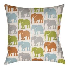 "Artistic Weavers Lolita Elephant Indoor/Outdoor Throw Pillow Size: 20"" H x 20"" W, Color: Lime Green/Bright Orange"
