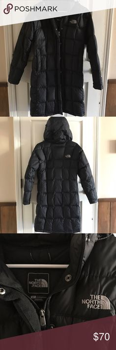 """The North Face Metropolis Winter Jacket Good condition The North Face 600 fill down parka jacket. Size small. Longer cut- 36"""" to keep you warm. Insulated bungee cord adjustable snap off hood, zip closure with storm flap, zip side pockets with key clip in one hand pocket, interior media zip pocket. Only sign of wear is tiny hole in lower right quadrant (see photo). The North Face Jackets & Coats"""