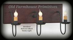 Primitive Vanity Light in Hartford Colors & Crestwood Primitive Bathroom Vanity Light | Home: 1/2 Bath ...