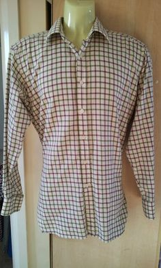 Mens CHARLES TYRWHITT FLANNEL CHECK Shirt Size XL Cream burgundy green EX. COND.  going Cheap from  from Only Top Labels - must see this! http://stores.ebay.co.uk/onlytoplabels English Gentry Fashion at it's best!
