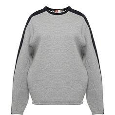 MSGM Tri-Tone Neoprene Sweatshirt (11.790 ARS) ❤ liked on Polyvore featuring tops, hoodies, sweatshirts, sweaters, grey multi, msgm, drop shoulder sweatshirt, crew neck tops, neoprene sweatshirt and crew top