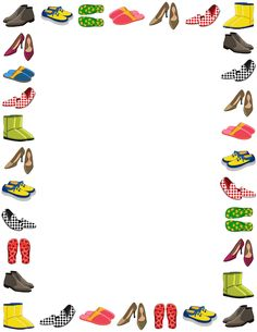 Free shoe border templates including printable border paper and clip art versions. File formats include GIF, JPG, PDF, and PNG. Printable Border, Printable Art, Printable Labels, Banners, Border Templates, Boarders And Frames, Scrapbook Frames, Hobbies For Couples, Page Borders