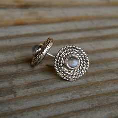 Rainbow Moonstone Earrings Post Earrings in Tarnish Resistant