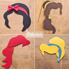 Perfectionate Props // 4 Disney Princess Photo Props // Snow White, Cinderella, Belle, Ariel // Disney Theme // Photo Booth Props