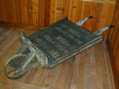 Circa 1940 antique wheelbarrow reclaimed from the PALCO mill in Scotia, CA.
