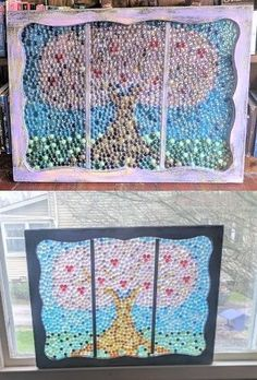I am a huge lover of all things mosaic and stained glass. I wanted to do some garden art with old windows, incorporating a stained glass mosaic look, to bring some color into my back yard while using readily available materials that didn't cost too much. Hobbies And Crafts, Arts And Crafts, Diy Crafts, Mosaic Glass, Glass Art, Stained Glass, Diy Projects To Try, Craft Projects, Wood Screen Door