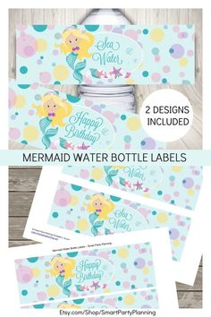 Use these instant download printable water bottle labels as easy party decoration at your little girls mermaid birthday party. The kids will love the adorable designs. You will receive two designs with the download. Use both or choose your favorite. The printable water bottle labels are perfect for a mermaid or under the sea party. Check out the other matching mermaid printable designs. Easy Party Decorations, Party Themes, Party Ideas, Easy Craft Projects, Easy Diy Crafts, Party Printables, Free Printables, Printable Water Bottle Labels, Water Party
