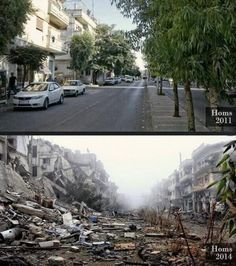The same street in Homs, Syria, in 2011 and now