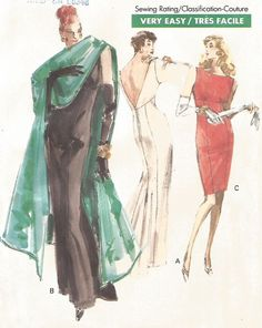VINTAGE GORGEOUS EVENING DRESS WITH STOLE  SEWING PATTERN  #DaisyKingdom