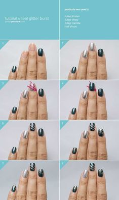 awesome Step By Step Happy New Year Nail Art Tutorials For Beginners 2015 / 2016 - Pepino Nail Art Design New Years Nail Art, New Years Eve Nails, New Nail Art, Cool Nail Art, New Year's Nails, Diy Nails, Hair And Nails, Nails 2016, Nail Art Designs 2016