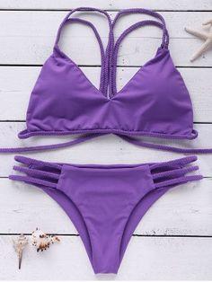 Stylish Strappy Braided Cut Out Bikini Set For Women Purple Bathing Suit, Purple Swimsuit, Bathing Suits, Purple Bikini Set, Bikinis, Bikini Swimwear, Swimsuits, Triangle Swimwear, Bandeau Bikini