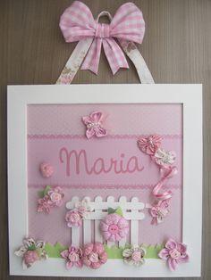 Enfeite de Porta Maternidade Jardim Rosa