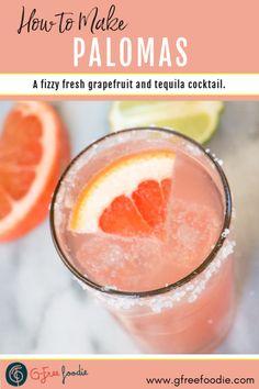 This refreshing Paloma recipe is made with fresh grapefruit juice, tequila & club soda. Paloma Cocktail, Cocktail Drinks, Cocktail Recipes, Cocktail List, Cocktail Tequila, Summer Cocktails, Tequila Drinks, Alcoholic Drinks, Drinks Alcohol Recipes