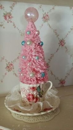 My Christmas Tree in a tea cup...Vintage Shabby Chic Christmas decoration