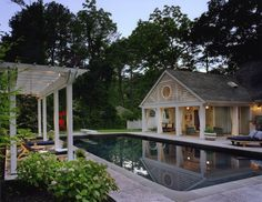 Delaware Beach Cottage Poolhouse  American  Coastal  Cottage  Patio  Pool  Porch by Barnes Vanze Architects, Inc