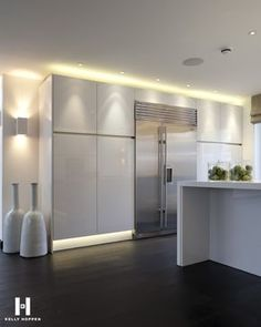 beautiful gloss white kitchen - stunning lighting and accessories - Kelly Hoppen for Regal Homes @ Circus Road www.kellyhoppen.com www.regal-homes.co.uk LG Limitless Design #lglimitlessdesign #contest