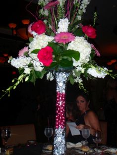 These vases filled with Hershey kisses were perfect for a candy themed Bat Mitzvah!
