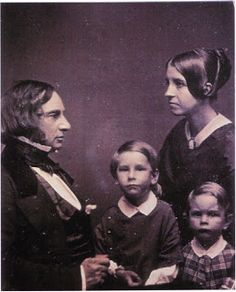 "Longfellow and his wife Frances ""Fanny"" Appleton with sons Charles and Ernest, ca. 1849 (Photo from the National Park Service, Longfel. Lawrence Durrell, Henry Wadsworth Longfellow, History Of Photography, Portrait Photography, Writers And Poets, American Poets, Elisabeth, Irish Traditions, Daguerreotype"