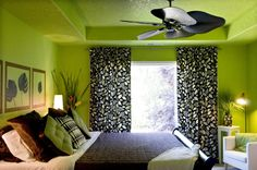 Green and black bedroom, something like this only not leaf print.
