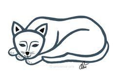 JACQUELINE DITT - Mr. Cat - outline Original Grafik signiert Bilder Katze Kater