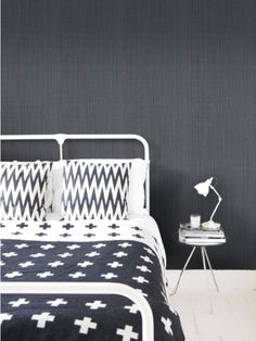 Dark linen wallpaper - NewWall - this would be great on an imperfect wall