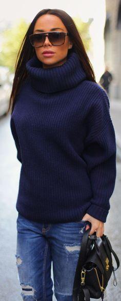 Blue Boyfriend Knit Turtleneck