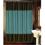 ...well I'll be....Cheyenne Faux Tooled Leather and Fringe Shower Curtain Turquoise