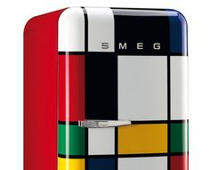 Kitchen goes arty: Piet Mondrian-inspired Smeg fridge