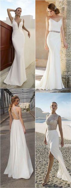 Simple Beach Dresses for Wedding / http://www.deerpearlflowers.com/beach-wedding-dresses-with-gorgeous-details/2/