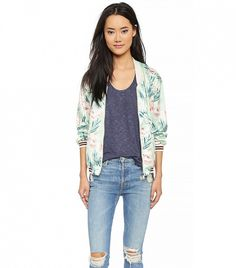 Maison Scotch Tropical Bomber Jacket in Multi