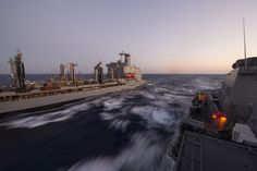 MEDITERRANEAN SEA (Aug. 14, 2016) - USS Carney (DDG 64) conducts a replenishment-at-sea with the Military Sealift Command fleet replenishment oiler USNS Big Horn (T-AO-198) in the Mediterranean Sea Aug. 14, 2016. Carney, an Arleigh Burke-class guided-missile destroyer, forward-deployed to Rota, Spain, is conducting a routine patrol in the U.S. 6th fleet area of operations in support of U.S. national security interests in Europe. (Mass Comm Spec  3rd Class Weston Jones)