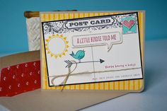 Baby Birdie Post Card by TheRoundedCorner on Etsy, Stampin' Up, Hello Love, Postcard