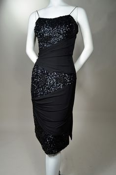 BEADED & SEQUINED DRAPED SILK CHIFFON 1950's VINTAGE COCKTAIL SHEATH DRESS.  Available for sale at rpvintage.com.
