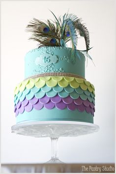 A Peacock themed Celebration Cake in Teal, Apple Green and Purple by The Pastry Studio: Daytona Beach, FL » The Pastry Studio