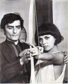 Charles Denner and Jeanne Moreau in La mariée était en noir directed by François Truffaut, 1968