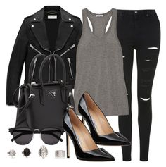 """""""Style #8234"""" by vany-alvarado ❤ liked on Polyvore featuring Yves Saint Laurent, Topshop, T By Alexander Wang, Prada and Manolo Blahnik"""